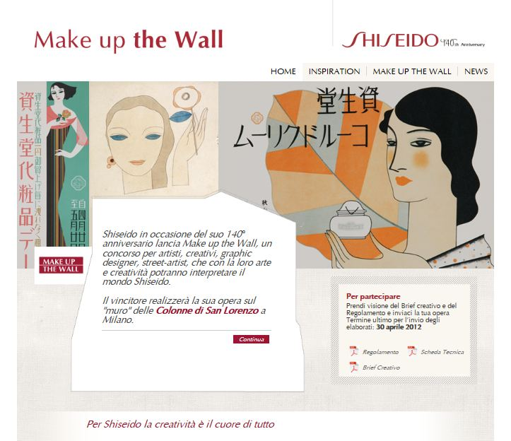"AL VIA IL CONCORSO SHISEIDO ""MAKE UP THE WALL"""