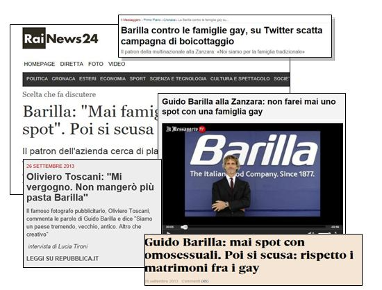 "BARILLA AND ""GAYS MATTERS"", MUCH CLAMOR ABOUT NOTHING, EXACT..."