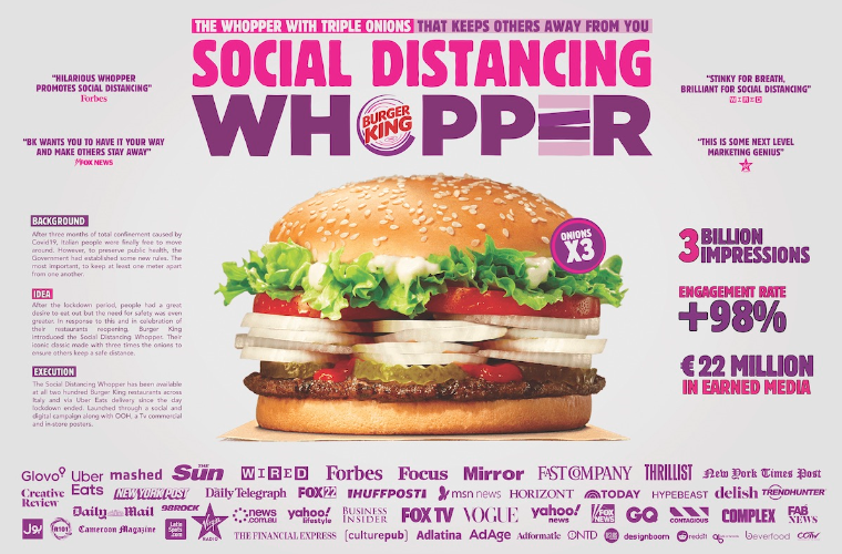 ADCI AWARDS 2020:  GRAND PRIX  GOES TO WUNDERMAN THOMPSON ITALY – FOR BURGER KING